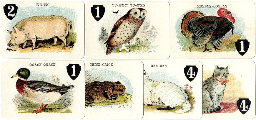 Animal Grab card game by Thomas De La Rue & Co., 110 Bunhill Row, London, c.1900